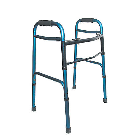 "DMI® Lightweight Adjustable Aluminum/Steel Folding Walker With 2-Button Release, 42""H x 26""W x 24""D, Blue"