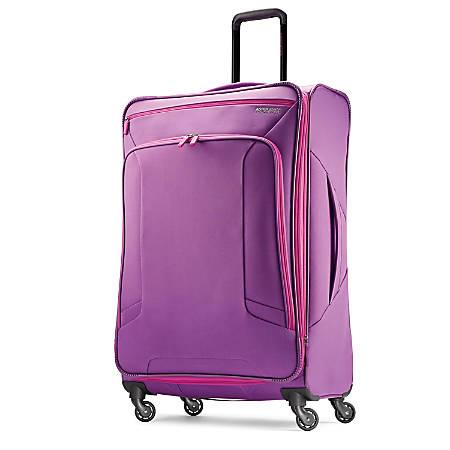 "American Tourister® 4 KIX Rolling Spinner, 28 1/4""H x 19""W x 10 1/2""D, Purple/Pink"