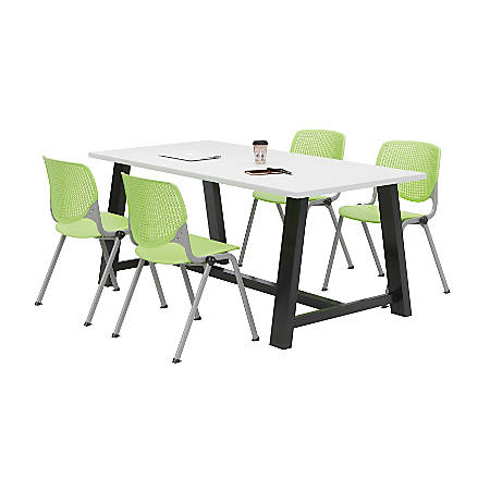 "KFI Studios Midtown Table With 4 Stacking Chairs, 30""H x 36""W x 72""D, Designer White/Lime Green"