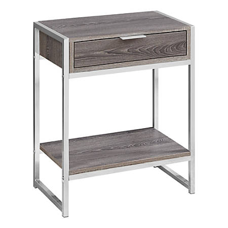 Monarch Specialties Side Accent Table With Shelf, Rectangular, Dark Taupe/Chrome