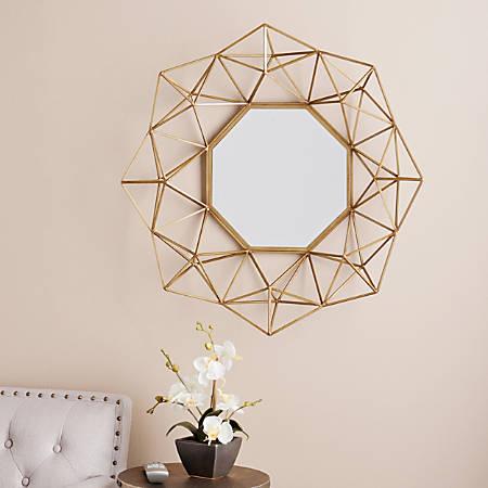 "Southern Enterprises Holton Decorative Octagonal Mirror, 29""H x 30""W x 5 1/4""D, Matte Gold"