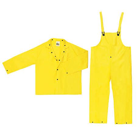 Three-Piece Rain Suit, Jacket/Hood/Pants, 0.28 mm PVC/Nylon, Yellow, Large