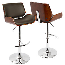 Lumisource Santi Bar Stool CherryBrownChrome