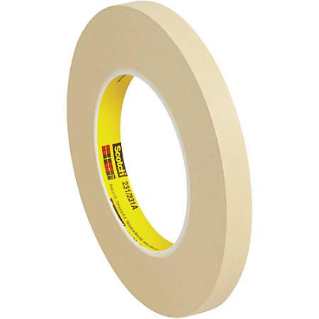 "3M™ 231 Masking Tape, 3"" Core, 0.5"" x 180', Tan, Case Of 72"