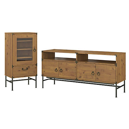 """kathy ireland® Home by Bush Furniture Ironworks 60""""W TV Stand with Audio Storage Cabinet, Vintage Golden Pine, Standard Delivery"""