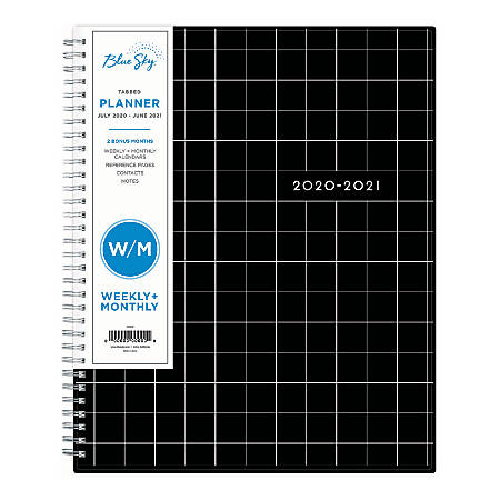 """Blue Sky™ Polypropylene Academic Weekly/Monthly Planner, 8-1/2"""" x 11"""", Multicolor, July 2020 to June 2021, 125780"""