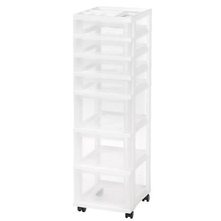 "IRIS Rolling Plastic Storage Cart, 7 Drawers, 42-1/8""H x 12-1/16""W x 14-1/4""D, White"