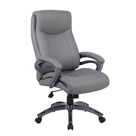 Boss High-Back Faux Leather Chair, Gray/Gun Metal
