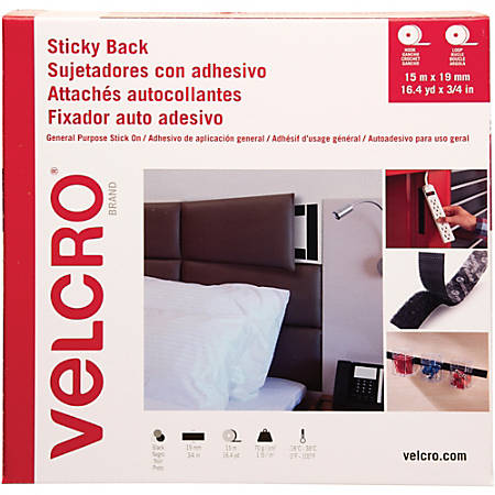"""VELCRO® Brand Sticky Back Stick On Fasteners - 0.75"""" Width x 49 ft Length - Self-adhesive - 1 Roll - Black"""