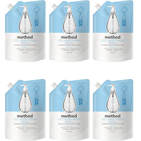 Method Sweet Water Gel Hand Wash Refill - Sweet Water Scent - 34 fl oz (1005.5 mL) - Squeeze Bottle Dispenser - Hand - Clear - Triclosan-free - 6 / Carton