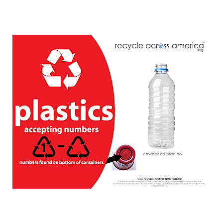 """Recycle Across America Plastics With Number Standardized Recycling Label, PLASS#-8511, 8 1/2"""" x 11"""", Red"""
