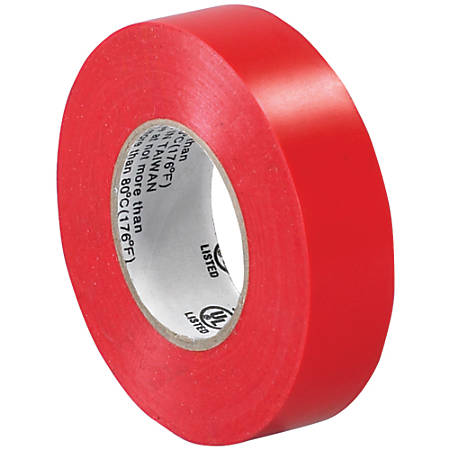 "Tape Logic® 6180 Electrical Tape, 1.25"" Core, 0.75"" x 60', Red, Case Of 10"