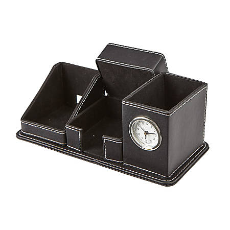 Mind Reader 5-Compartment Faux Leather Compact Desk Organizer, Black