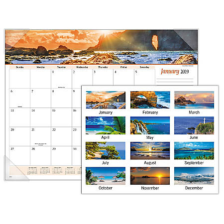 """AT-A-GLANCE® Seascape Panoramic Monthly Desk Pad Calendar, 22"""" x 17"""", January to December 2019"""