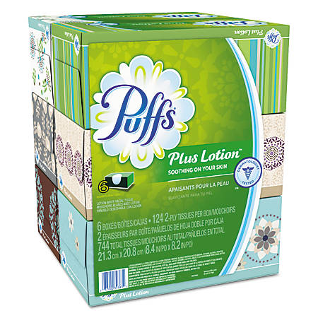 Puffs® Plus Lotion™ 2-Ply Facial Tissues, White, 124 Tissues Per Box, Pack Of 24