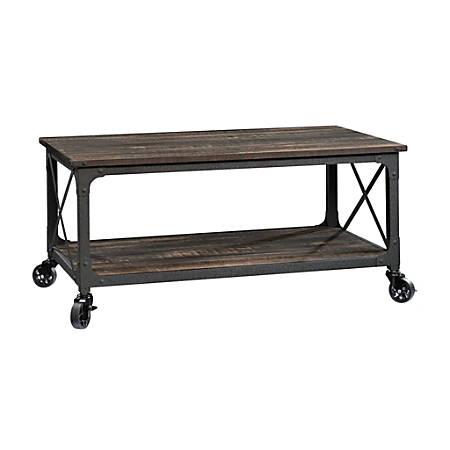 "Sauder® Steel River Coffee Table With Casters, 18-1/2""H x 43""W x 25-1/4""D, Black/Carbon Oak"