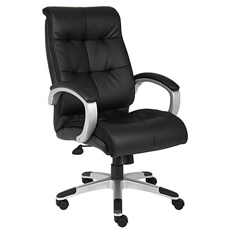 Boss Office Products Double-Plus Leather High-Back Chair, Black/Silver