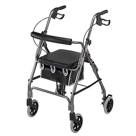 """DMI® Adjustable Aluminum Rollator With Seat, 32 1/4"""" x 24 1/2"""", Titanium"""