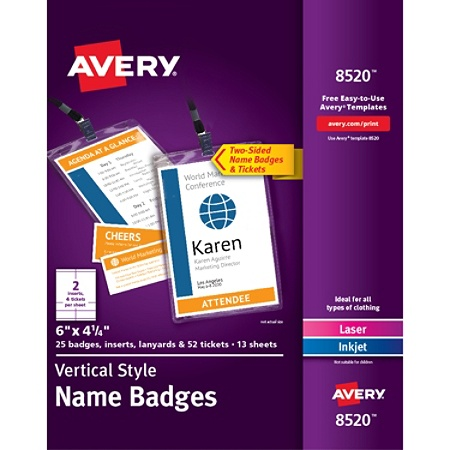 avery vertical name badge kit 6 x 4 14 white pack of 25 badges by