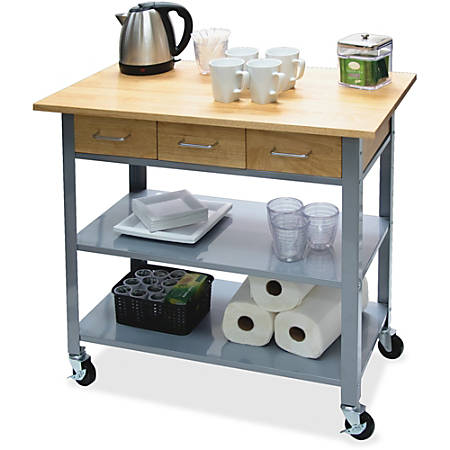 "Vertiflex Countertop Serving Cart - Solid Wood - 34.3"" Width x 19"" Depth x 35.5"" Height - Steel Frame - Assorted"