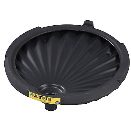"""Justrite® Spill Control Funnel For Non-Flammables, 3 1/4"""" x 21"""", Black"""