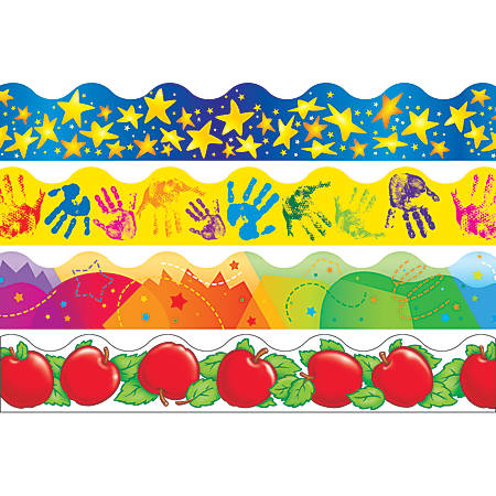 """TREND Terrific Trimmers® Variety Pack Borders, 2 1/4"""" x 39"""", School Basics Scalloped, Pre-K - College, Pack Of 48"""