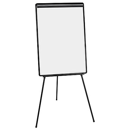 "MasterVision® Easy-Clean Dry-Erase Tripod Presentation Easel, 71 1/2""H, Silver/Black"