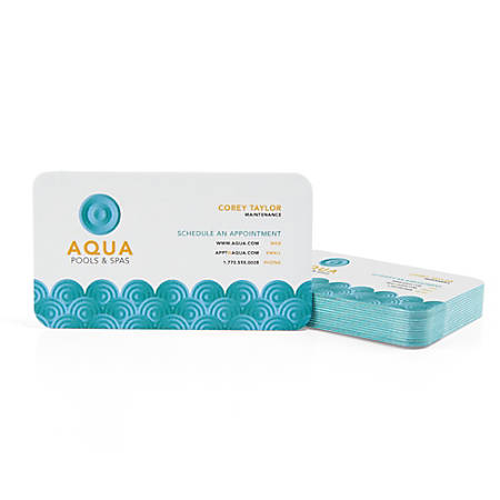 Custom Full-Color Luxury Heavy Weight Color Core Business Cards, Aqua Core, Rounded Corners, 1-Side, Box Of 50