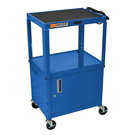 H. Wilson Metal Utility Cart With Locking Cabinet, Blue