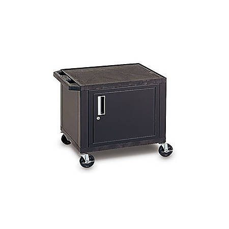 "H. Wilson Plastic Utility Cart With Locking Cabinet, 26""H x 24""W x 18""D, Black"