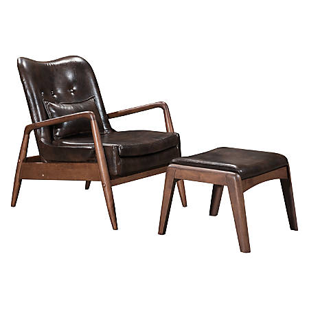 Zuo® Modern Bully Lounge Chair And Ottoman, Brown/Walnut