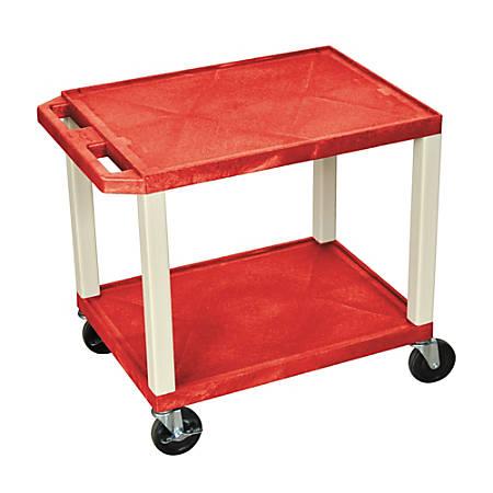 "H. Wilson 26"" Plastic Utility Cart, 26""H x 24""W x 18""D, Red"