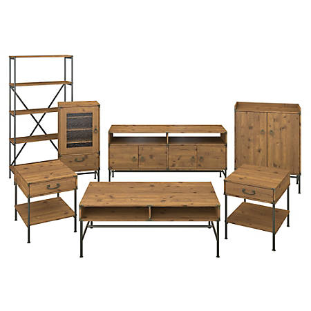kathy ireland® Home by Bush Furniture Ironworks TV Stand with Audio Cabinet, Storage and Living Room Table Set, Vintage Golden Pine, Standard Delivery