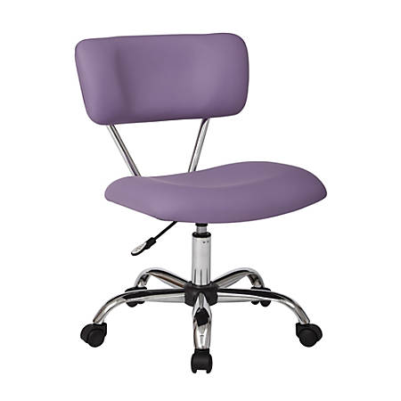 Office Star™ Avenue Six® Vista Task Chair, Faux Leather, Purple/Silver