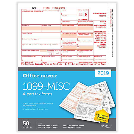 "Office Depot® Brand 1099-MISC Laser Tax Forms, 2019 Tax Year, 2-Up, 4-Part, 8-1/2"" x 11"", Pack Of 50 Form Sets"