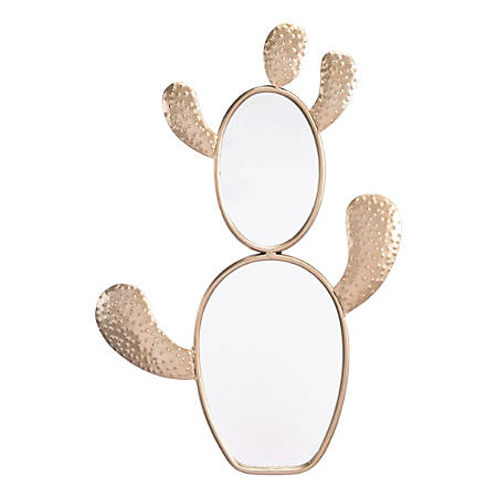 "Zuo Modern Cactus Mirror, 22 13/16""H x 15 7/16""W x 1 1/4""D, Champagne Gold"