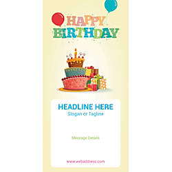 Custom Vertical Banner Birthday Cake And