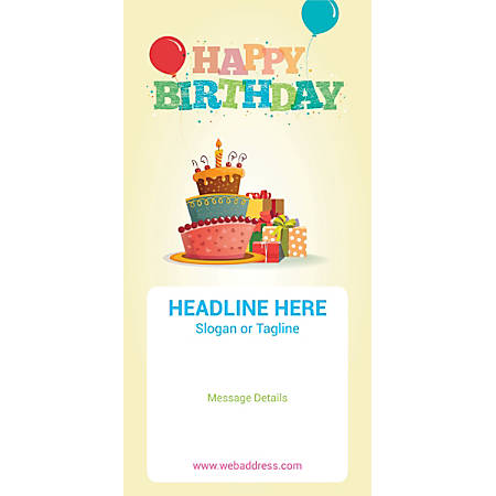 Custom Vertical Banner, Birthday Cake And Gifts