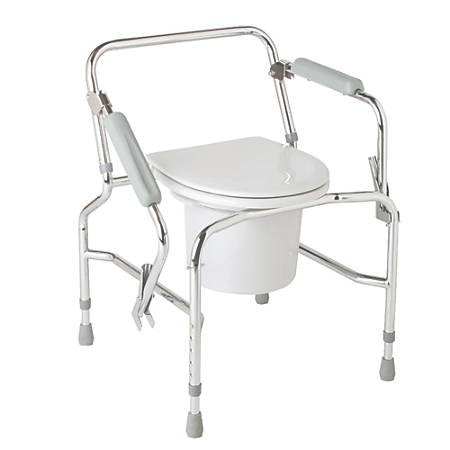 Medline Steel Drop-Arm Commode, Chrome