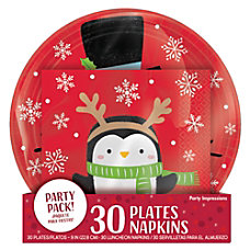 Amscan Christmas Snowy Friends PlatesNapkins Value