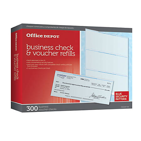 Office Depot® Brand Business Check Refill Pack, 1-Part, Pack Of 300 Item #  637515