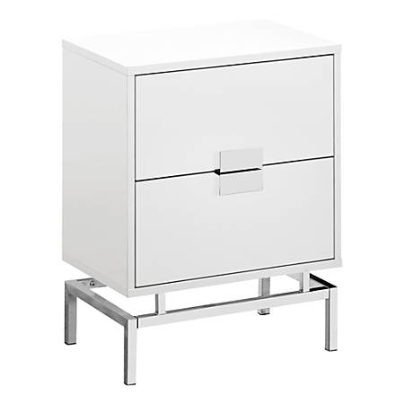 Monarch Specialties Retro 2-Drawer Accent Table, Rectangular, White/Chrome