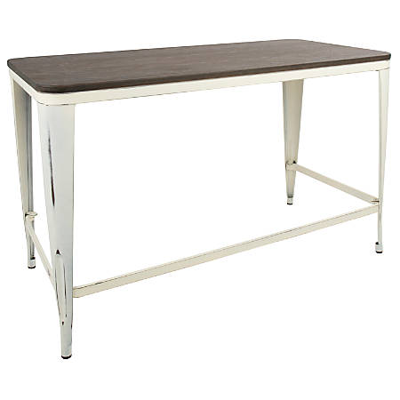 Lumisource Pia Industrial Desk, Vintage Cream/Espresso