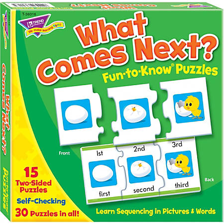 Trend What Comes Next Fun-to-know Puzzles - Theme/Subject: Fun, Learning - Skill Learning: Number, Sequencing, Word - 45 Pieces