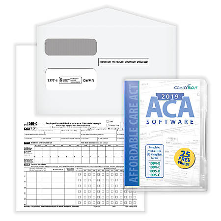 """ComplyRight™ 1095-C Employer-Provided Health Insurance Offer And Coverage Forms, With Envelopes And ACA Software, 8-1/2"""" x 11"""", Bundle For 100 Employees"""