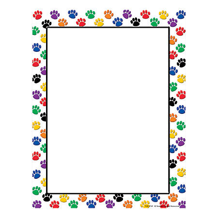 "Teacher Created Resources Colorful Paw Prints Computer Paper, 8 1/2"" x 11"", 20 Lb, Multicolor, 50 Sheets Per Ream, Case Of 5 Reams"
