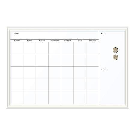 """U Brands Magnetic Dry-Erase Calendar, 30"""" x 20"""", White Décor Frame"""