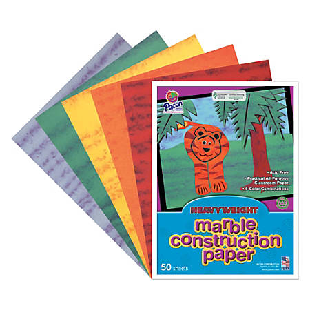 """Art Street® 50% Recycled Marble Construction Paper, 9"""" x 12"""", Assorted Colors, Pack Of 50"""