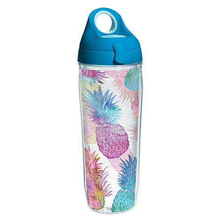 Tervis Water Bottle With Lid, 24 Oz, Watercolor Pineapple