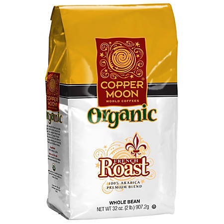 Copper Moon Coffee Whole Bean Coffee, French Roast Organic, 2 Lb Per Bag, Case Of 4 Bags